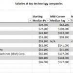 median tech salaries 06 2011