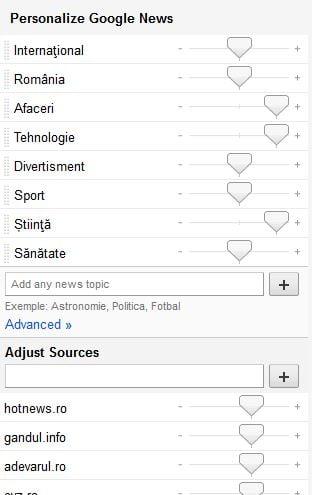 personalizare google news