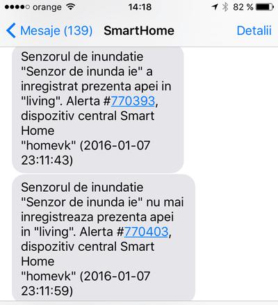 """Alertă de inundație primită sub formă de SMS la câteva secunde după ce am """"udat"""" senzorul de inundație."""
