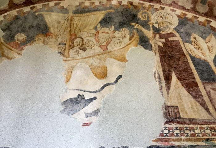 Frescă de la anii 1300 păstrată în biserica reformată din Sic.